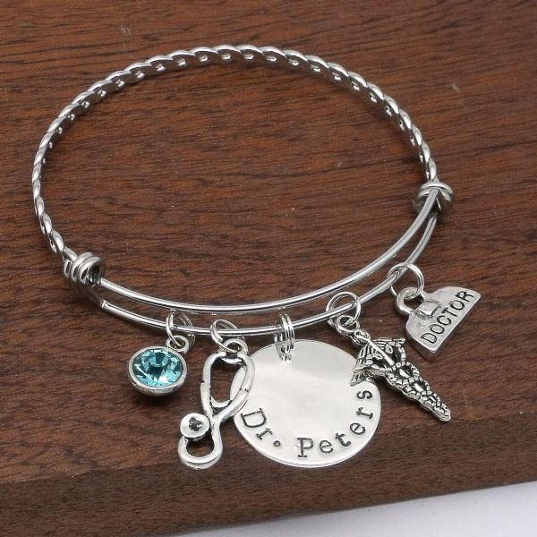 Doctor gift personalised bracelet custom jewellery birthstone